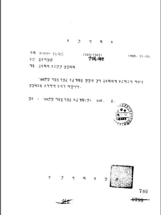 1988년도 연말이웃돕기성금 모금 계획(안)(제48회)