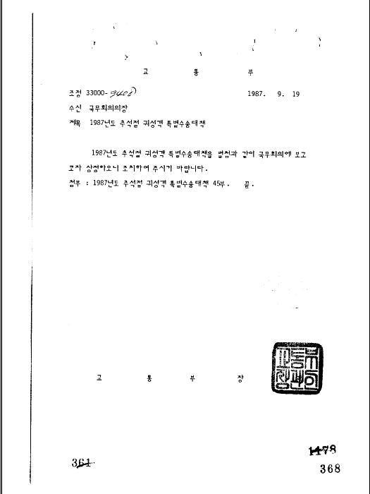 1987년도 추석절 귀성객 특별수송 대책(제46회)