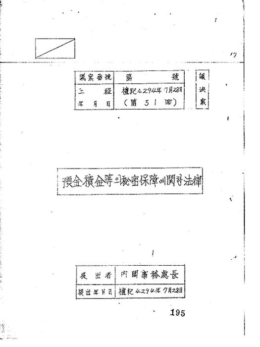 금융 실명거래에 관한 법률공포안(제82회)