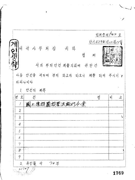 국토 건설단 설치법시행령(안)