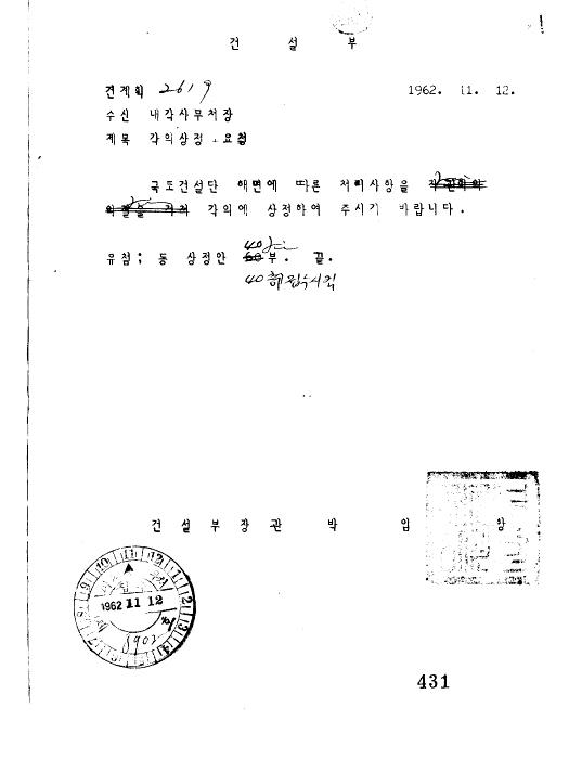 국토건설단 해면에 따른 처리사항(제94회)