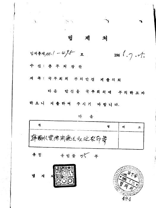 한국수자원개발공사법 공포(안) (제65회)