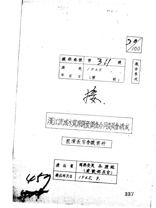 한강 유역 수자원개발 조사 합동위원회 구성