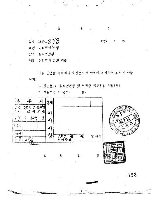 수도권전철 및 지하철 여객 운임 제정(안)